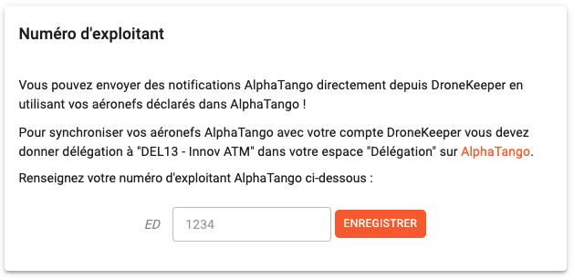 N° exploitant liaison AlphaTango